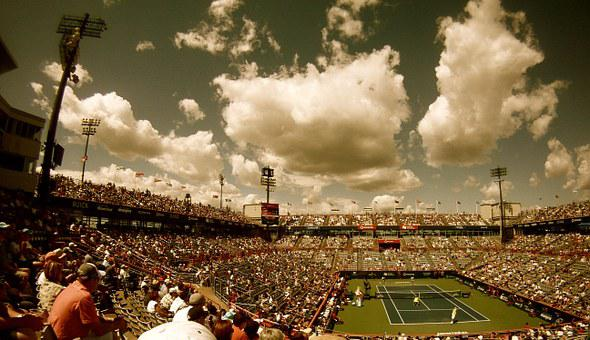 Tennis Court, Tennis, Stadium, Audience, Crowd, Sport