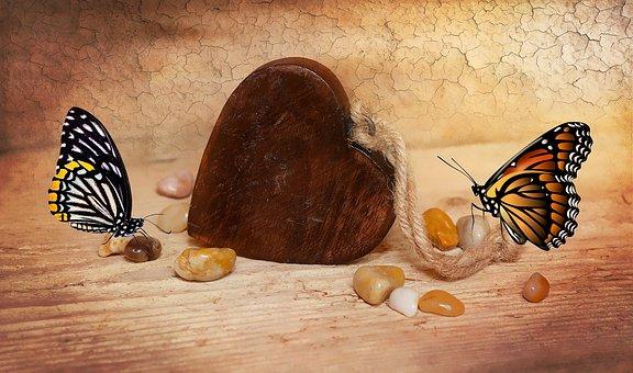 Heart, Wooden Heart, Dekoherz, Stones, Butterflies