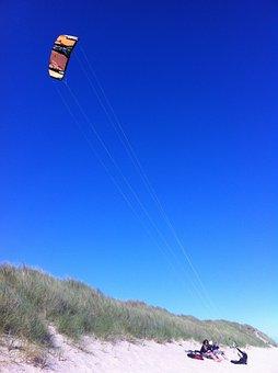 Kite, Blue, Sky, Beach, Sylt, Elbow, Fly, Wind, Summer