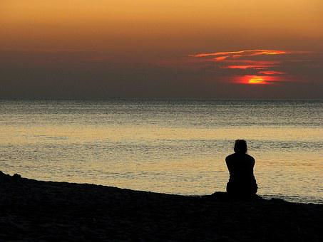 Sunset, Sea, The Baltic Sea, Character, Man, Woman