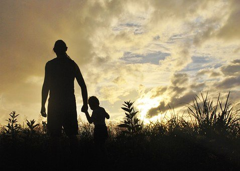 Father, Son, Walking, Sunset, Sunrise, Grass, Meadow