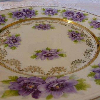 Plate, Porcelain, Old Plate, Ditzy, Violet, Tableware