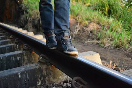 Feet, Shoes, Shoe, Legs, Jeans, Walk, Rail Road, Rail