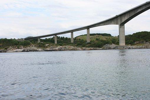 Bridge, Concrete, Columns, Water, Road, Norway