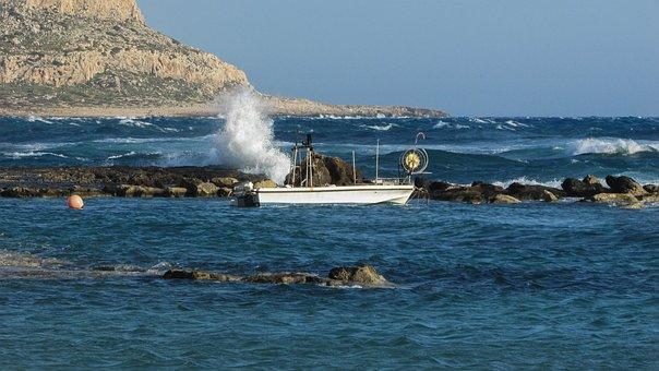 Cyprus, Ayia Napa, Kermia Beach, Boat, Waves, Smashing