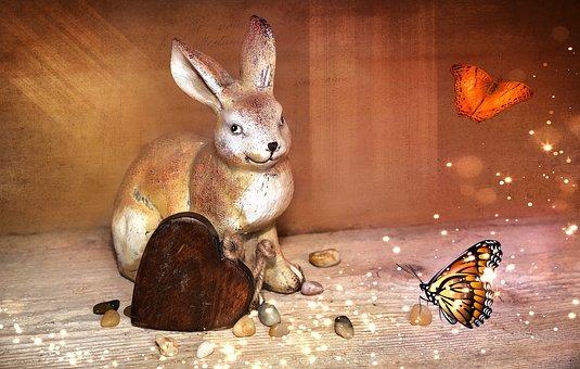 Hare, Dekohase, Stone Hase, Heart, Wooden Heart
