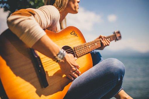 Acoustic, Guitar, Musician, Music, Girl, Woman, People