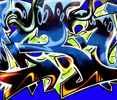 Grafitti, Wandmgrafitti, Mural, Color, Blue