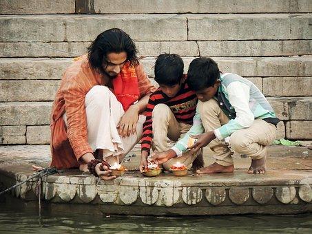 Prayer, Man, Boys, Family, River, Religion, Religious