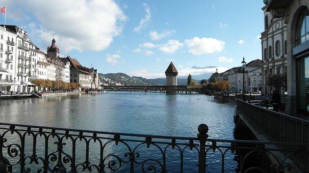 Lucerne, Kappel Bridge, Bridge, Water Tower, Reuss
