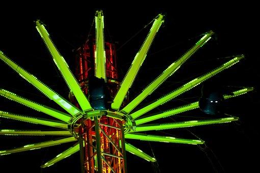 Amusement, Attraction, Carnival, Carousel, Green, Dark