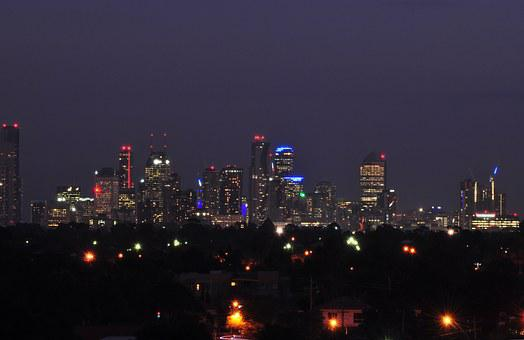 Melbourne Skyline, Melbourne North, Night, Cityscape