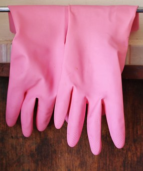 Rubber Gloves, Gloves, Pink, Hanging, Clean