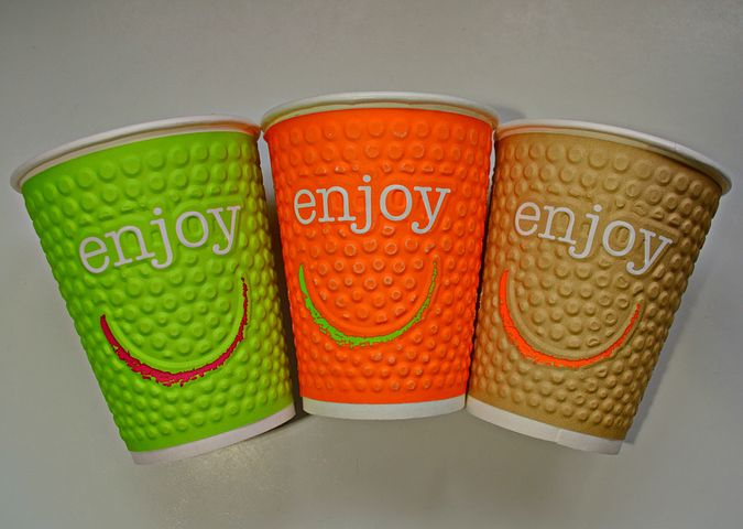 Drinking Cups, Cardboard, Smileys, Coloured, Colorful