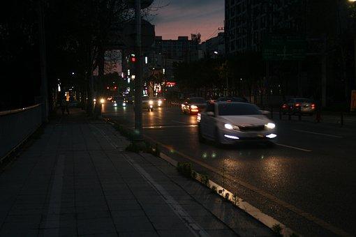 Night View, Road, Driveway, Daegu