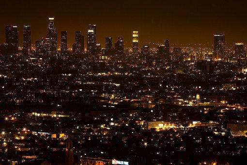 Downtown La, City, Lights, Downtown, La, Urban