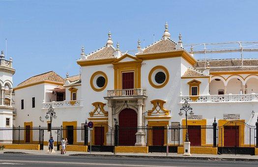 Seville, Spain, Bullring, Entrance, Sky, Clouds, Sports