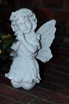 Angel, Figure, Statue, Woman, Weis, Kneeling