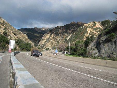 Gaviota Pass, Road, Tunnel, Freeway, Nature, Cars