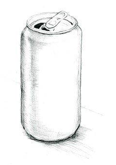Tin Can, Pencil Drawing, Grayscale Scan