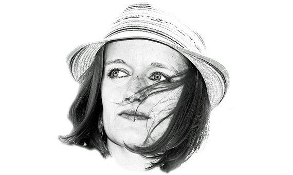 Woman, Hat, Portrait, Eye, View, White, Hair, Hairstyle