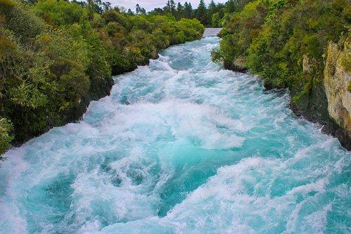 Huka River, Water, Waterfall, New Zealand, North Island