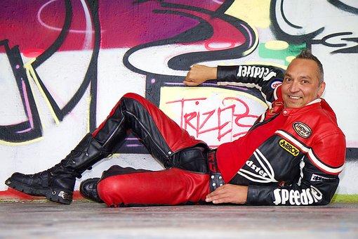 Wall, Grafitti, Human, Man, Leather Jacket