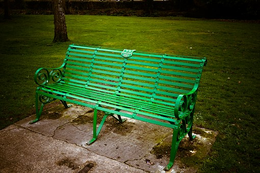 Bench, Metal, Green, Outdoor, Park, Nature, Seat