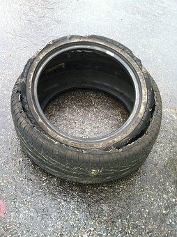 Tire, Old, Worn, Wheel, Disposed Of, Thrown Away