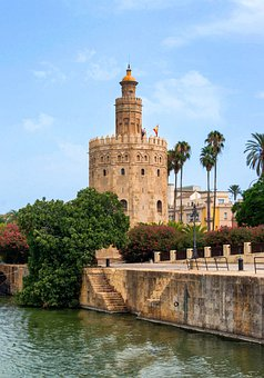 Seville, Spain, Tower Of Gold, Flowers, Trees, Palms