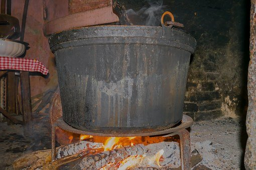 Pot, Fire, Cook, Lit, Wood Fired Oven, Fireplace, Oven