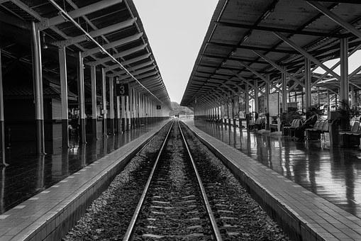 Railway Station, Remove The Sight Line, Black And White