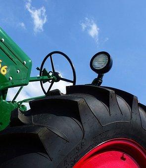 Tractor, Farm, Tire, Rubber, Black, Red, Green, Blue