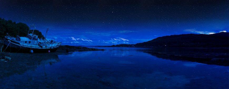 Scotland, Stars, Isle Of Mull, Highlands, Night, Sky