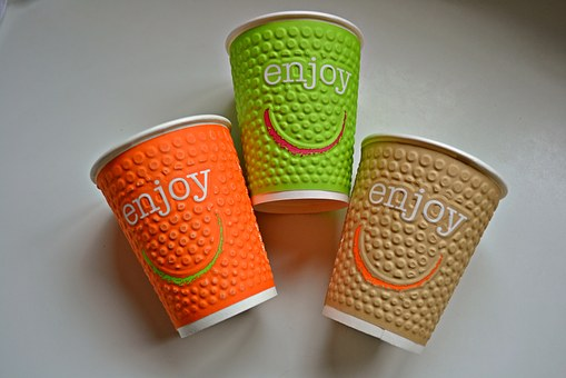 Drinking Cups, Cardboard, Coloured, Colorful, Smiley