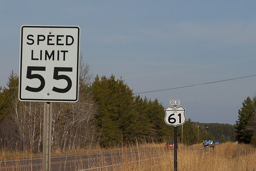 Route 61, Speed Limit, 55, Road, Sign, Speed, Highway