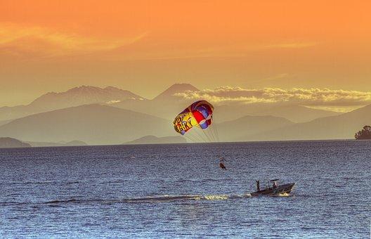 Lake Taupo, New Zealand, North Island, Boat, Sunset