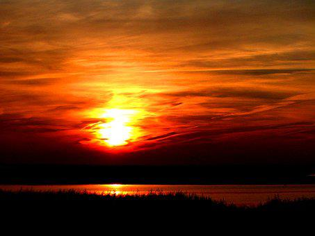 Sylt, Sunset, Red, Orange, Yellow, Shadow, Clouds