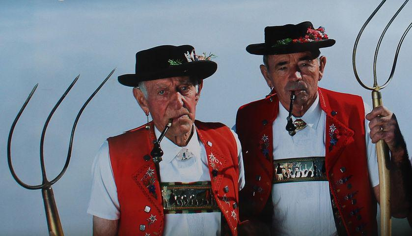 Men, Appenzeller, Customs, Costumes, Tobacco Pipes, Old