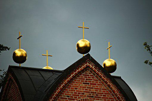 Bell Tower, Ball, Gold, Cross, Roof, Tower Roof