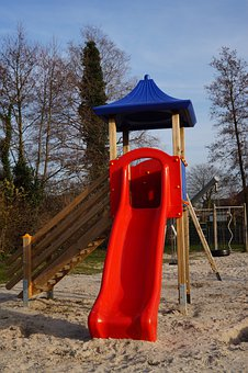 Playground, Slide, Tower, Wood, Plastic, Colorful