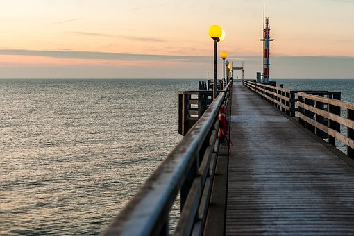 Ostseebad Wustrow, Sea Bridge, Water, Baltic Sea, Coast
