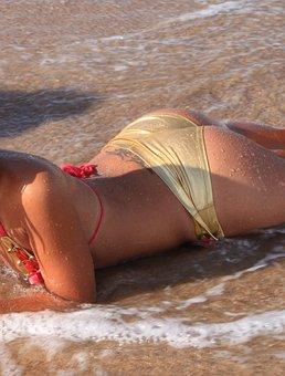 Beach, Bikini, Girls, Playing, Sea, Sexy, Sunny, Water