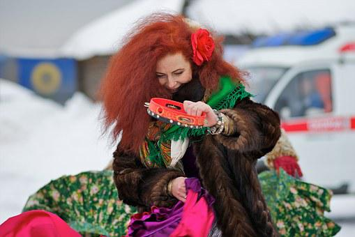 Russia, Feast, Woman, Ginger Hair, Dance, Music, Winter