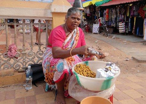 Peanut Seller, Woman, Street Vendor, Calangute Beach