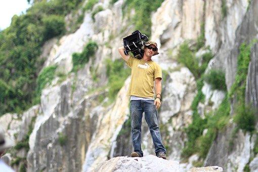 Cameraman, Filmproduction, Action, Man, Filmer, Movie
