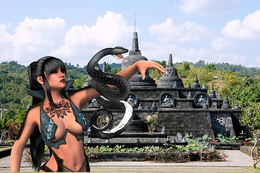 Woman, Snake, Temple, Background Image, Destkopbild