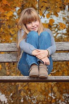 Autumn, Bank, Child, Girl, Sitting, Hebstfaerbung