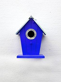 Aviary, Blue, Birds, Nesting Place, Bird Feeder