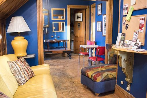 Colorful, Interior, Furniture, Room, Blue, Yellow, Wood